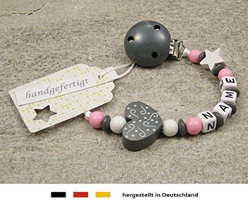 Baby SCHNULLERKETTE mit NAMEN | Schnullerhalter mit Wunschnamen - Mädchen Motiv Herz Ornament in grau