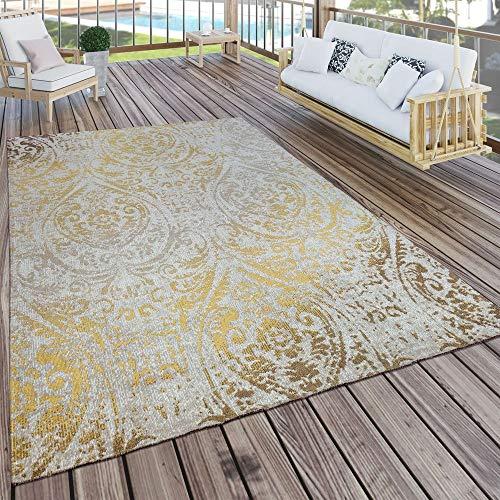 Paco Home In- & Outdoor Teppich Modern Shabby Chic Stil Terrassen Teppich Wetterfest Gelb, Grösse:160x220 cm