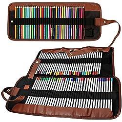 Senhai Lápices de colores Organizador, 48 Ranura 72 Ranura + Lápiz bolsa de mano/abrigo enrollable bolsa para la escuela, la oficina, Viajes (Sin lápices)