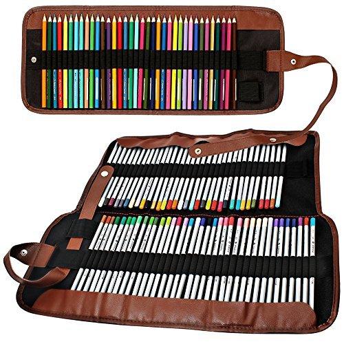 Senhai matite colorate organizzatore, 48 slot + 72 slot della tela di canapa sacchetto della matita/wrap arrotolabile custodia per scuola, ufficio, viaggio (non ci sono matite)