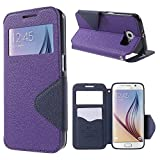 NessKa | Handyschutz in Perfektion | Ultra Slim Premium Flip Cover Tasche Schutz Hülle mit Silikon Innen Schale Original Roar Fancy Case Für Samsung Galaxy S6 Edge Plus Lila