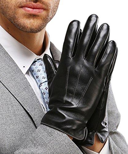 HARRMS Herren Winter Handschuhe Echt Leder Touchscreen Gefüttert mit Kaschmir Lederhandschuhe, Schwarz L (mit Geschenk Verpackung)