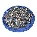 Jiele Portable Toy Storage Bag and Kids Toys organizer portaoggetti sacca Lego e altri giocattoli per bambini Fast sacchetto di stoccaggio giocattoli borse spiaggia zerbino tappeto da gioco (100CM, blu)