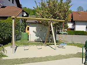 Doppelschaukel aus Holz für den öffentlichen Bereich