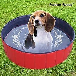 SPEED Piscina perros Gatos Bañera para Perro Baño de Mascota portátil y resistente 160 x 30 cm Rojo
