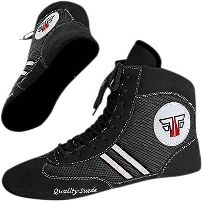 Fox-Fight, scarpe da sambo, ring o wrestling, in pelle scamosciata, colori nero-blu-rosso