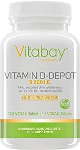 Vitamin D-Depot 5.600 I.E. Wochendosis - 800 I.E. pro Tag - 120 vegane Tabletten