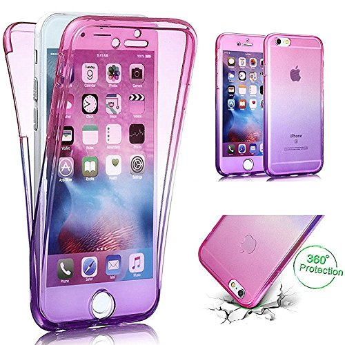 Coquille pour iPhone 6S Plus,Souple Silicone Coque pour iPhone 6 Plus,Leeook Cr¨¦atif 360 Degr¨¦ Full Body Protecion Clair Conception Absorption de Choc Bumper et Anti-Scratch Ultra Mince Case Cover d Full Body Gradient,Rose Violet