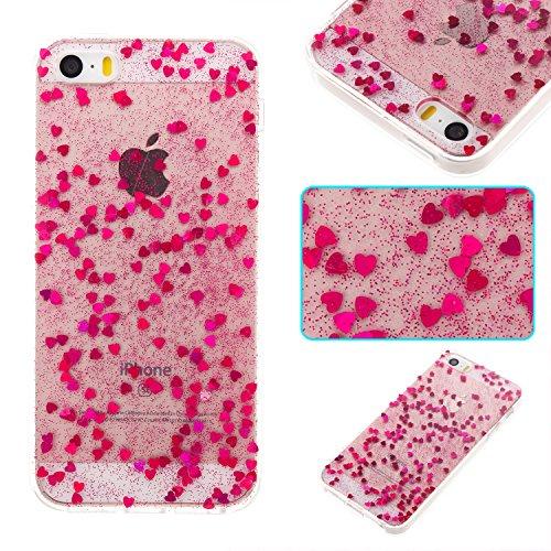 Pour iPhone 5 5S 5G / iPhone SE Case Cover, Ecoway TPU Soft Silicone Série à cinq pointes Housse en silicone Housse de protection Housse pour téléphone portable pour iPhone 5 5S 5G / iPhone SE - Rose  Rose rouge 1