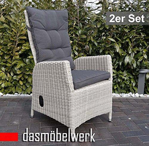 dasmöbelwerk Polyrattan Hochlehner mit Sitzpolstern Rattan Stuhl Relax Sessel Gartenmöbel Gartenstuhl PISA Silber Grau 2er Set