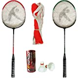 HIPKOO SPORTS Toofani Wide Body Badminton Set (2 Rackets, 3 Feather Shuttles and Net, Bag Inside)