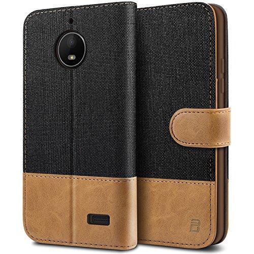 BEZ® Hülle für Moto E4 Hülle, Handyhülle Kompatibel für Motorola Moto E4, Handytasche Schutzhülle Tasche Case [Stoff und PU Leder] mit Kreditkartenhaltern, Schwarz