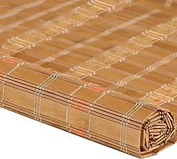 ZEMIN Bambus Rollo Bambusrollo Innen/Außen Installieren Anpassbar Abgeschnitten Handhebend, 2 Farben, 23 Größen
