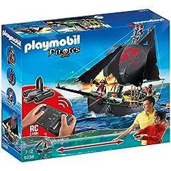 Playmobil Piratas - Barco Pirata con Control Remoto y 3 Figuras Pirata (5238)