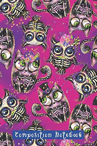 : Sugar Skull Cats and Owls Purple Blue Day Of The Dead Pattern Gothic Halloween (150 Pages) ()