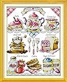 YEESAM ART Neu Kreuzstich Stickpackung - Hohe Tea Time Kaffee Kuchen Brot 14 CT 36×44 cm DIY Stickerei Set Weiß Segeltuch - Kreuz Nähen Handarbeit Weihnachten Geschenke Cross Stitch Kit