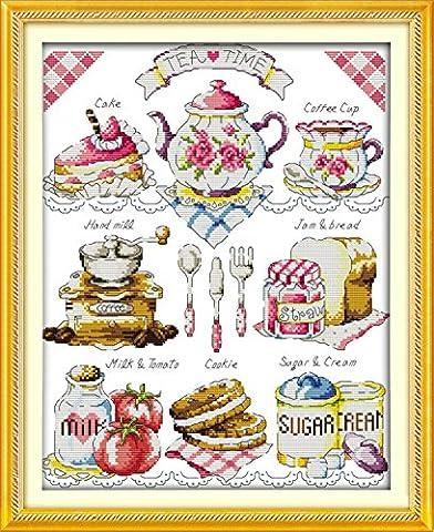 YEESAM ART Neu Kreuzstich Stickpackung - Hohe Tea Time Kaffee Kuchen Brot 14 CT 36×44 cm DIY Stickerei Set Weiß Segeltuch - Kreuz Nähen Handarbeit Weihnachten Geschenke Cross Stitch (Designer Christmas Tree Topper)