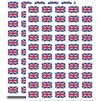 Supertogether Big Value 100-Pack Union Jack UK Flag Stickers - 31mm x 20mm Dimensions - Self Adhesive Durable English Motif Decals Labels for Car Bike Motorbike Numberplate Helmet Windows and Walls