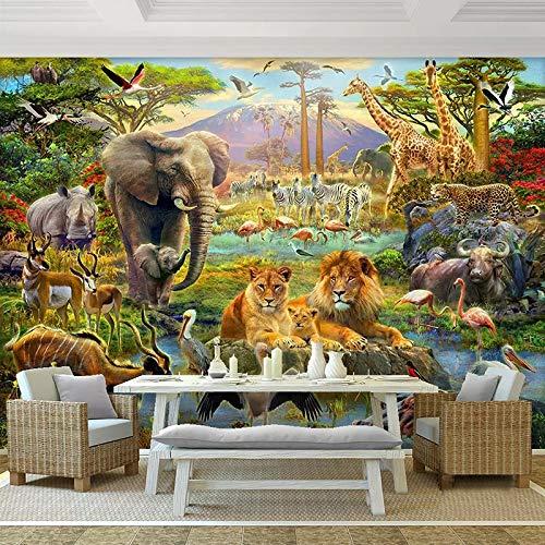 Benutzerdefinierte 3D Fototapeten Wandbilder Cartoon Wald Tierwelt Kinder Kinder Schlafzimmer Wohnzimmer Elefant Löwe Wandbild Tapete 3D Fototapete 3d effekt - 1㎡(1 Quadratmeter)