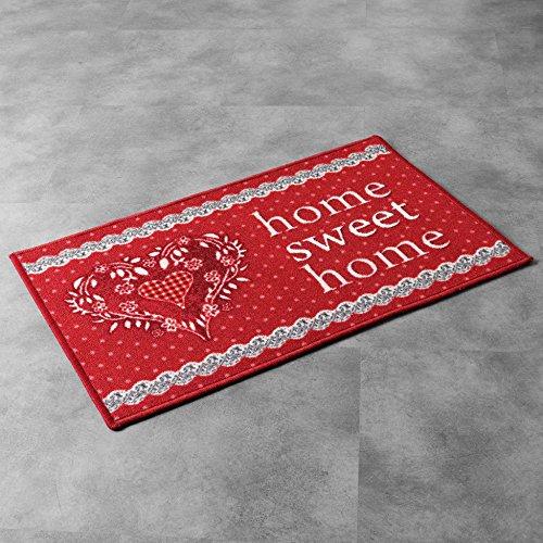 Déco Tapis Tapis Déco Rectangle, Polyester, Rouge, 40x60 cm
