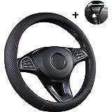 UIHOL rattskydd för bil kraftigt rattskydd i läder 38 cm/15 tum halkfri universell rattskydd rattskydd – svart och röd (+ bil