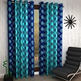 Home Sizzler 2 Piece Eyelet Polyester Window Curtain - 5ft (60 inch), Blue