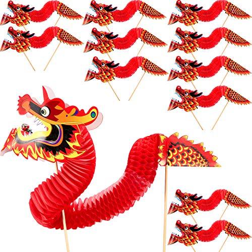 Chuangdi 12 Stücke Chinesisches Neujahr Drachen Papier Frühlingsfest Dekorationen für Chinesisches Neujahr Frühlingsfest Parade Kuchen Dekorationen