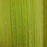 HONG Quaste Perlen Vorhang Kristall Perlen Design mit Gewinde String Tür Vorhang Fenster für Raumteiler Trennwand (100 cm x 200 cm 2 Stück),Grün