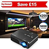 """CAIWEI Video Projector 1080p 4200 Lumen, 200"""" Widescreen HD LED LCD Projector Home Theater Cinema 1280x800 TFT Display Full Color for Backyard Party BBQ Movies, Work with TV PS3 PS4 DVD Phone, Black"""