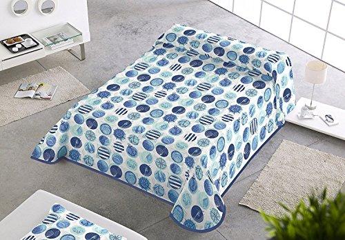 Sabanalia - Colcha estampada Marina (Disponible en varios tamaños) - Cama 180 - 280 x 280