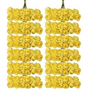 144pcs Ramo Rosa Artificial Flor Papel Decoración para Hogar Boda (amarillo)