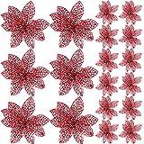 SATINIOR 20 Pezzi Glitter Albero di Natale Ornamenti Artificiali Matrimonio Natale Poinsezia Fiori per la Decorazione del Festival (Rosso)