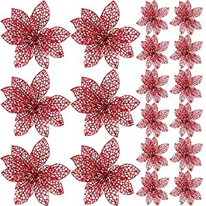 SATINIOR 20 Pieces Glitter Christmas Tree Ornaments Artificial Wedding Christmas Poinsettia Flowers for Festival Decoration (Dorado)