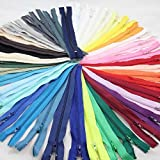 Zipper, Nylon Zippers Closed End Multicolor Zippers for Clothing, Ceaft, Sewing-Pack of 50, 20 CM