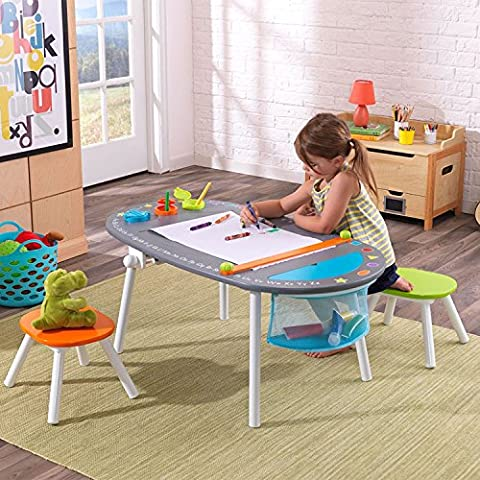 KidKraft Durable Wood and Metal Construction Deluxe Chalkboard Art Table with Stools for Kids 3 Years