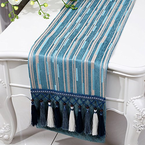 BSNOWF-Chemin de table Table Table Chenille Stripe Bed Table Basse Style Européen Classique Simple Table Moderne Tapis ( Couleur : Flat angle. , taille : 33*280cm )