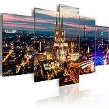 murando - Bilder 200x100 cm Vlies Leinwandbild 5 TLG Kunstdruck modern Wandbilder XXL Wanddekoration Design Wand Bild - Abstrakt Köln Stadt Panorama Nacht d-B-0122-b-m