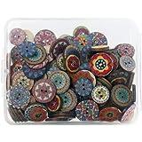 SUNTATOP Boutons en Bois Mercerie Lot de 150, 15mm&20mm pour Bricolage Couture DIY Artisanat Décoration, Impressions Multiple