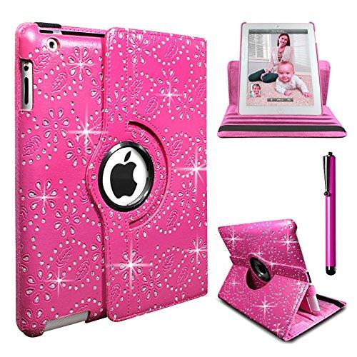 Diamant Bling PU Leder 360Drehbare Hülle Für iPad 23& iPad 4Retina Ständer Fall Pink (Nicht kompatibel für iPad Air 12013/Air 22014/2017iPad veröffentlicht) (Drehbare Ipad 2 3 4 Fall)