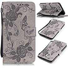Funda para Samsung Galaxy S6 Edge Plus, Galaxy S6 Edge Plus Funda de PU cuero resistente,Samsung S6 Edge Plus Ultra Slim Mariposa y Flor Colorido Diseño PU Cuero Folding Stand Flip Funda Carcasa Caso, Leather Case Wallet Protector Card Holders, SMART LEGEND Cubierta de la caja Funda protectora de cuero caso del soporte billetera Funda Carcasa con Stand Función y Imán Incorporado para Samsung Galaxy S6 Edge Plus - Gris Elegante