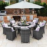 Maze Rattan Outdoor Garden Furniture LA 8 Seat 1.8m Round Table Grey Rattan Dining Set