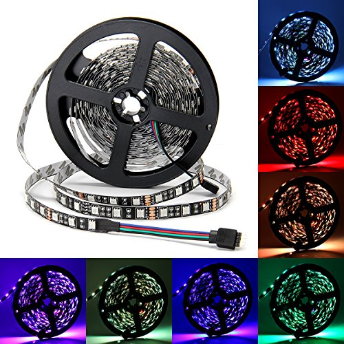 (LED Stripes SUPERNIGHT 12v 5050 SMD Strip Non-waterproof LED Tape Multi-colors LED Strips Light 16.4ft/5m 300LEDs für Startseite Dekorative Beleuchtung[Schwarz-PCB])