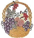Fensterbild PLAUENER SPITZE® OBSTKORB mit Apfel Birne Traube Dekoration Sommer, Herbst, ERNTEDANK farbig 20x25 cm incl. Saugnäpfchen