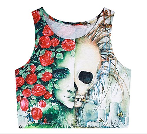 Colleer Damen Bauchfreies Top Ärmelloses Scoop Neck Crop Top Tank Tops 3D Gedruckte Weste von (4) (Scoop Pullover Weste Neck)