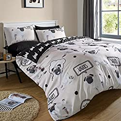Just Contempo Pug perro de edredón, color negro/gris, único