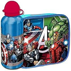 Bakaji Kit Avengers Team Eroi Borsa Termica con Borraccia Alluminio Cestino Termico Marvel Merenda per Bambini, Portamerenda Colazione Lunch Box