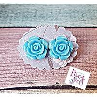 Cabochon-Ohrstecker Paar mit Blume in hellblau, 12mm