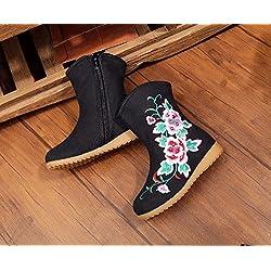 KAFEI Mädchen bestickte Schuhe und Stiefel Leinwand seitlichen Reißverschluss-Brett bohren Gummi Rindfleisch sehne Analyse, Schwarz, 20.