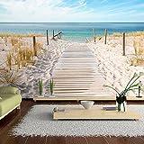 murando - Fototapete 300x210 cm - Vlies Tapete - Moderne Wanddeko - Design Tapete - Wandtapete - Wand Dekoration - Landschaft Natur Meer Strand blau beige c-A-0054-a-b