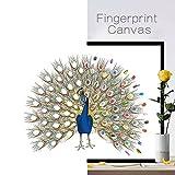 Leosi Fingerabdruck-Dekoration für die Hochzeit, Gästebuch zum Selbermachen, Leinwand und Stempelkissen, pfau, L:60*75cm(23.6*29.5 Inch)